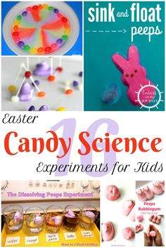 These Easter candy science experiments and activities are a great way to get kids excited about their lessons! Science Activities For Kids, Kindergarten Science, Easter Activities, Science Experiments Kids, Science Ideas, Kid Science, Science Worksheets, Stem Projects, Science Projects