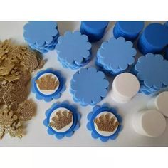 Kit Para 50 Apliques Coroa Princesas Azul P/lembrancinhas - R$ 24,00