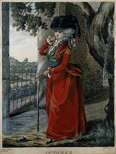 "Robert Dighton, ""October"" (c. 1785). England. Watercolour. www.saddlersrow.com #horses #history #riding habits"