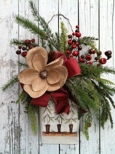 Christmas Door Wreath  Country Wall Tin with by marigoldsdesigns, $53.00