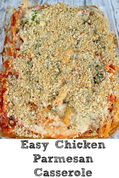 This Easy Chicken Parmesan Casserole perfect for any crazy weeknight! Just dump into a casserole pan and bake for an easy dinner the whole family will love! Easy Family Meals, Frugal Meals, One Pot Meals, Easy Meals, Frugal Family, Family Recipes, Dump Meals, Chicken Parmesan Casserole, Easy Chicken Parmesan