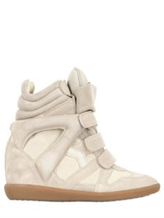 Isabel Marant Etoile 80mm Bekett Suede Wedge Sneakers on shopstyle.com