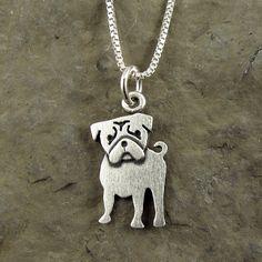 Tiny pug necklace / pendant by StickManJewelry on Etsy Dog Jewelry, Animal Jewelry, Dog Necklace, Pendant Necklace, Silver Necklaces, Silver Earrings, Silver Ring, Pugs, Pug Puppies