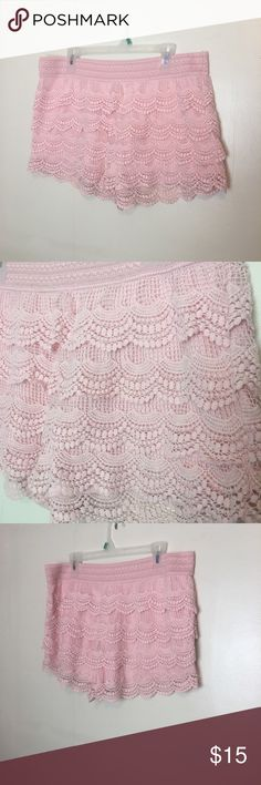Pink Crocheted Lace Shorts So adorable and boho. They are not UO just tagged for views. Are a size large, didn't have a tag but were bought at a local boutique shop always open to offers Urban Outfitters Shorts