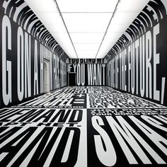 Barbara Kruger - Past/Present/Future, 2010. A digital print on vinyl installation at the Stedelijk Museum in Amsterdam