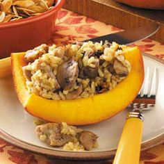Sausage-Stuffed Pumpkins Recipe- Recipes  Baking a meal in a pumpkin—what a fun fall idea! To serve, cut the pumpkin into wedges, giving each person both pumpkin and stuffing. —Rebecca Baird, Salt Lake City, Utah