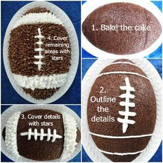 Get your game on with this dark chocolate football cake! Some people have mentioned it's the best chocolate cake recipe they've had yet. Amazing Chocolate Cake Recipe, Best Chocolate Cake, Chocolate Color, Mini Tortillas, Football Desserts, Football Cakes, Football Parties, Cake Cookies, Cupcake Cakes