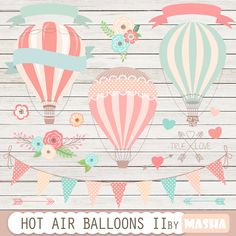 """Hot air balloons clip art: """"Hot Air Balloon Clipart II"""" for wedding invitations, save the date cards, baby showers, birthday parties by MashaStudio on Etsy https://www.etsy.com/listing/237636114/hot-air-balloons-clip-art-hot-air"""