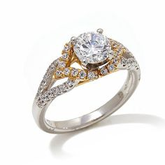 Absolute™ 1.7ct Round and Pavé 14K Gold 2-Tone Ring