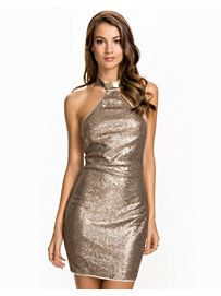 Metal Collar Dress - Nly One - Champagne - Party Dresses - Clothing - Women - Nelly.com