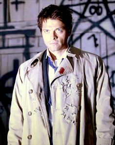 Castiel. Does it bother anyone else that there's a spot of blood from the knife wound but not the shot gun rounds? Maybe it's because the knife is magic.