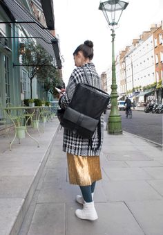 Elena Corchero fashion designer, with Jas MB London Philip Slim Backpack.