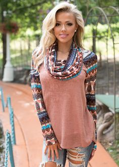 Oasis Cowl Neck Top Brown CLEARANCE - Modern Vintage Boutique