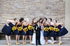 Bridesmaids - navy and sunflowers - from the Lawrence wedding | Rachel Events