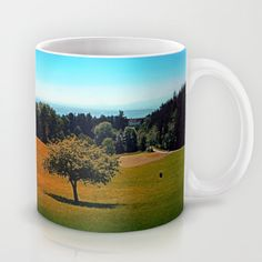 Another lonely tree in summer Coffee Mug by patrickjobst Ceramic Mugs, Lonely, Coffee Mugs, Custom Design, Ceramics, Tableware, Summer, Ceramica, Pottery Mugs