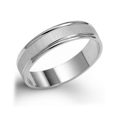 14k Brush Finished Plain White Gold Wedding Band White gold