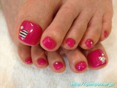Pink toe nails - http://yournailart.com/pink-toe-nails/ - #nails #nail_art #nail_design #nail_polish