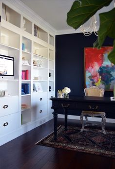Incroyable IKEA Bookcases Turned Into Custom Built In. Dark Office Painted In Sherwin  Williams Inkwell