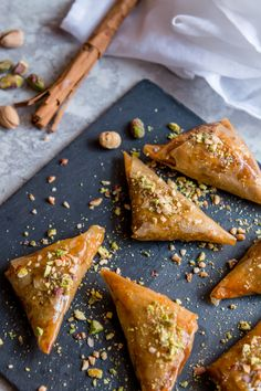 Pistachio and Hazelnut Briouate — My Moroccan Food – arabicsweets Moroccan Desserts, Moroccan Dishes, Moroccan Food Recipes, Moroccan Pastries, Delicious Desserts, Dessert Recipes, Yummy Food, Morrocan Food, Moroccan Party Food