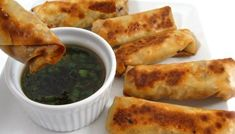 Skinny Baked Vegetarian Egg Rolls with Peanut Sauce with Weight Watchers Points   Skinny Kitchen Egg Roll Recipes, Ww Recipes, Low Calorie Recipes, Light Recipes, Cooking Recipes, Cleaning Recipes, Healthy Recipes, Bread Recipes, Meals