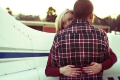Airplane Engagement Photos.  Aviation Save The Dates