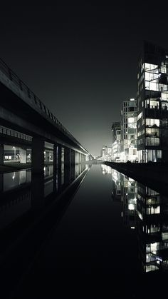 ↑↑TAP AND GET THE FREE APP! Stylish Dark City View Black Lake Landscape Skyscraper Lights Bridge HD iPhone 6 plus Wallpaper