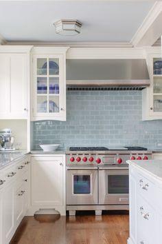 White Kitchen Design With Stainless Steel And Light Blue Subway Tile Backsplash Jean Stoffer