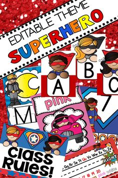 This editable superhero classroom decoration set is a DIY, teacher created resource you can edit and decorate your elementary, preschool or kindergarten bulletin boards and door. You will have so many ideas with this popular bundle to make a fun and cute class for your super heroes. Mix and match the colors red and blue or use one color. Labels, word walls, calendar, class rules, desk tags, alphabet, number, shape and color posters are included. #kindergarten #backtoschool #classroomdecor Superhero Bulletin Boards, Superhero Classroom Decorations, Kindergarten Bulletin Boards, Classroom Themes, Kindergarten Centers, Literacy Centers, Toddler Classroom, Preschool Classroom, Classroom Activities