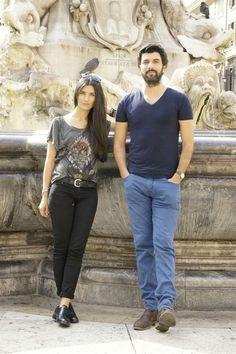 Tuba Buyukustun as Elif and Engin Akyürek as Omer in the Turkish TV series KARA PARA ASK, 2014.