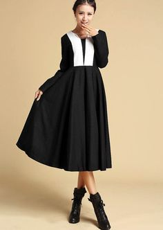 Black white wool dress 312 by xiaolizi on Etsy, $79.99