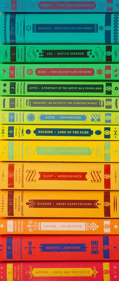Classic Books with covers that are a rainbow when you shelve them alphabetically. | Penguin Drop Cap editions of the classics