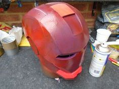 Build an Iron Man Helmet for Cheap!: 10 Steps (with Pictures) Spray Paint Cans, Acrylic Spray Paint, Gold Spray Paint, Red Paint, Cardboard Crafts, Foam Crafts, Iron Man Helmet, Red Pictures, Iron Man