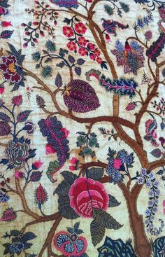 "wasbella102: "" Embroidered mid-18th-century Coromandel Coast palampore. Cotton with silk thread """