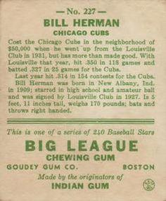 1933 Goudey #227 Billy Herman Back