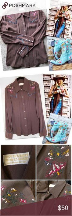 "LD BURKE FINE WESTERN WEAR EMBROIDERED TOP SHIRT S LD BURKE FINE WESTERN WEAR EMBROIDERED TOP SHIRT SZ S - 36"" bust 30"" waist 38"" hip 23"" length  40% RAYON 60% TENCEL LD Burke Tops Button Down Shirts"