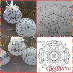 Crochet Ball, Diy Crochet, Crochet Doilies, Crochet Flowers, Crochet Snowflake Pattern, Christmas Crochet Patterns, Crochet Snowflakes, Crochet Ornaments, Diy Christmas Ornaments