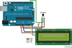 DS18B20 Temperature Sensor with LCD Display_Elec-Cafe