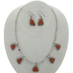 Apple Coral Silver Southwest Necklace Set Desert Pearl Choker