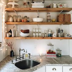 Home Design Ideas: Home Decorating Ideas Bohemian Home Decorating Ideas Bohemian simply-divine-creation Cocinas Kitchen, Corner Sink, Clutter Organization, Kitchen Organization, Bohemian House, Kitchen Shelves, Kitchen Counters, Marble Countertops, Wood Shelves