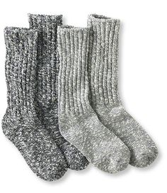 Men's Cotton Ragg Camp Socks, Two-Pack   Free Shipping at L.L.Bean in navy/gray size large