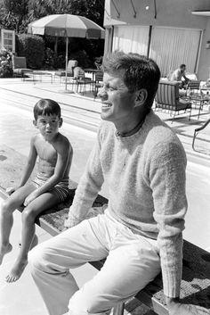 """JFK and his son, """"John John"""" (JFK Jr.)"""