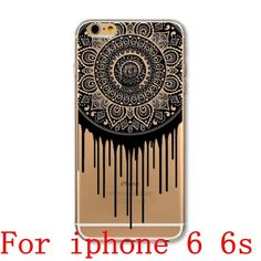 For Apple iPhone 6 6S 6Plus 6s Plus 4 4S 5 5S SE 5C Case Black Floral Paisley Flower Mandala Patterned TPU Silicon Covers Capa