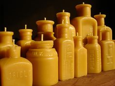 Antique Bottle-Shaped Beeswax Candles by pollenArts
