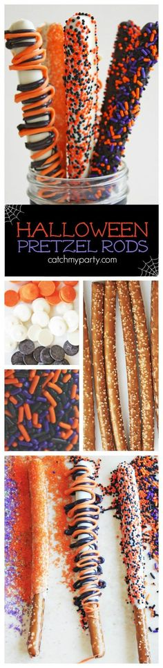 Halloween Pretzel Rods Not Only Make Great Snack For Those Late Night Study Sess. Halloween Pretzel Rods Not Only Make Great Snack For Those Late Night Study Sessions But Also Fun T Sac Halloween, Halloween Party Snacks, Halloween Baking, Halloween Desserts, Halloween Birthday, Halloween Cupcakes, Holidays Halloween, Happy Halloween, Halloween