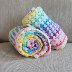 A beautiful crochet blanket, 30 by 30 inches, a perfect size for baby! Handmade with stunning pastel colours & cream for a lovely vintage look. This blanket is made to order, please allow 6-8 weeks to be made.