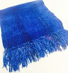 Woven Rayon Chenille Royal Scarf by Claire Perrault