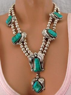 VINTAGE SIGNED NAVAJO SILVER ROYSTON TURQUOISE SQUASH BLOSSOM STYLE NECKLACE | Jewelry & Watches, Ethnic, Regional & Tribal, Native American | eBay!
