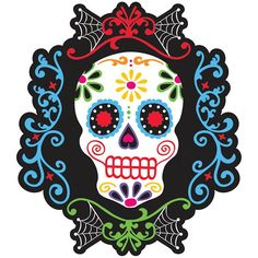 Hang festive color on Dia de los Muertos celebration walls! This Black and Bone Colorful Skull paper cutout features a dazzling Day of the Dead sugar skull on a black background with elegant swirls of