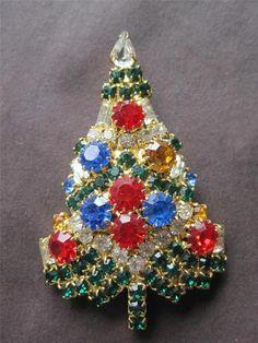 Estate Vintage Sparkle Christmas Tree Brooch Pin Eisenberg Ice | eBay