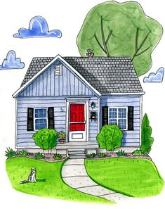NEW Ink and Watercolor House Portrait.  by PicketFencePortraits picketfenceportraits.etsy.com